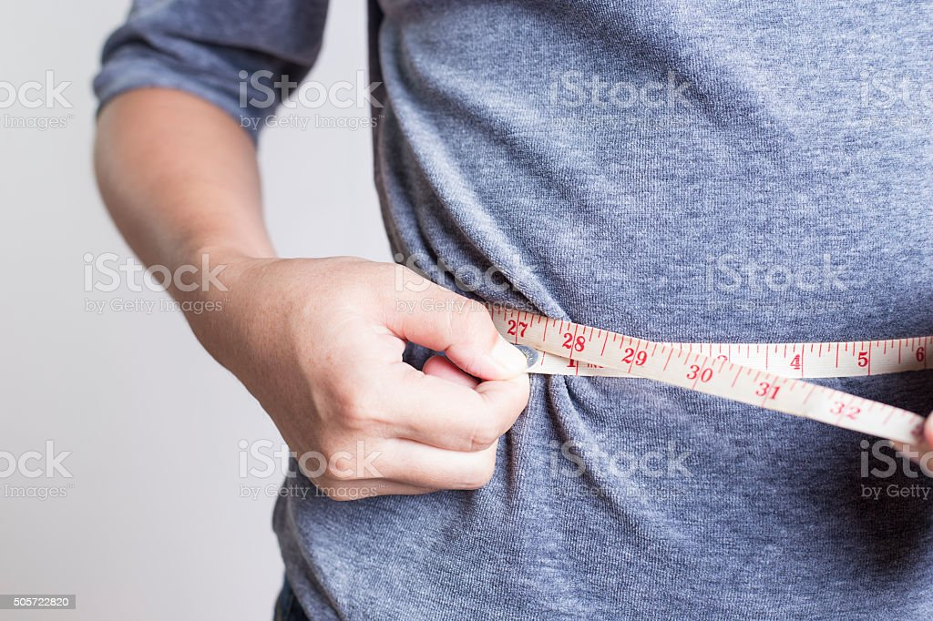 Woman Checking Waistline stock photo