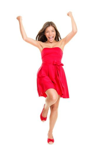 Woman Cheering In Summer Dress Stock Photo - Download Image Now