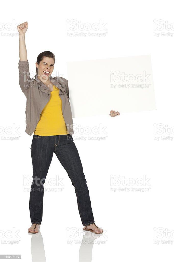 Woman cheering royalty-free stock photo