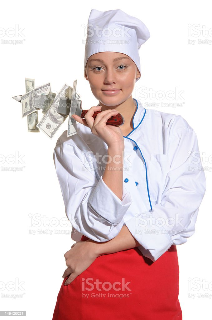 woman- chef with knife and money isolated on white royalty-free stock photo