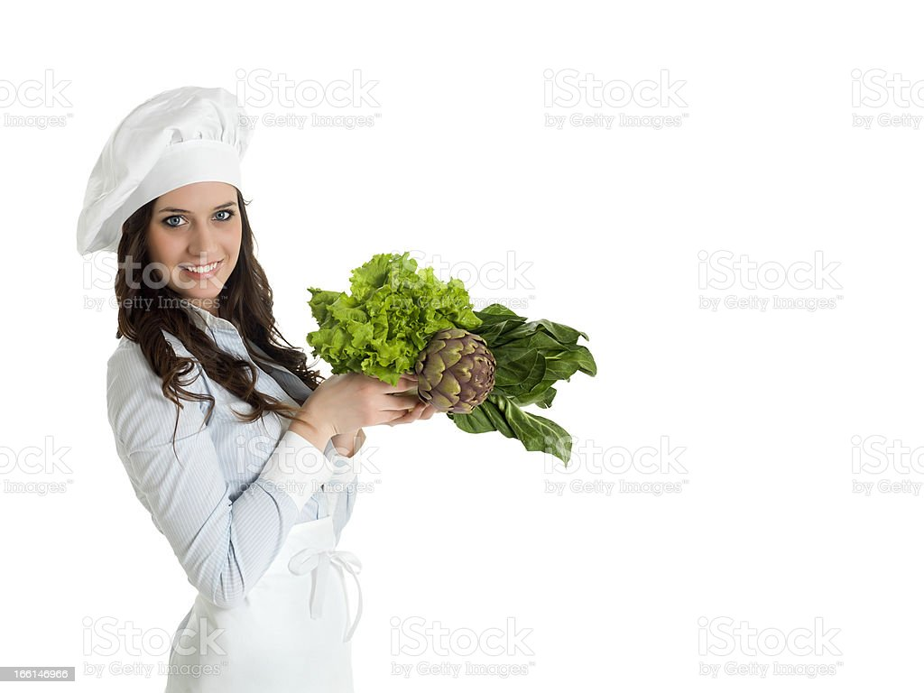 woman chef with vegetables royalty-free stock photo