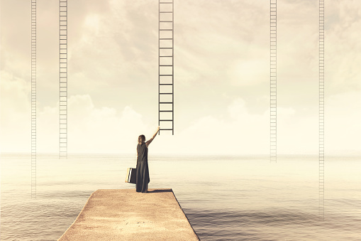 Woman chooses imaginary ladder from the sky to a disenchanted destination