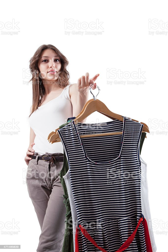 Woman Choosing Dress royalty-free stock photo