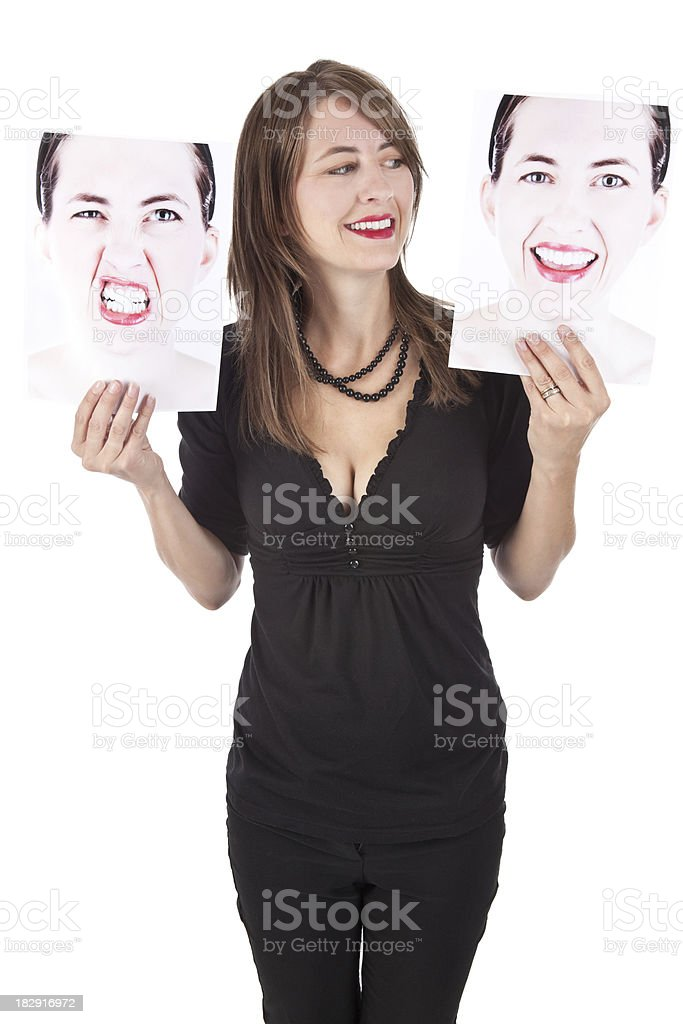 Woman Choosing Her Emotion royalty-free stock photo