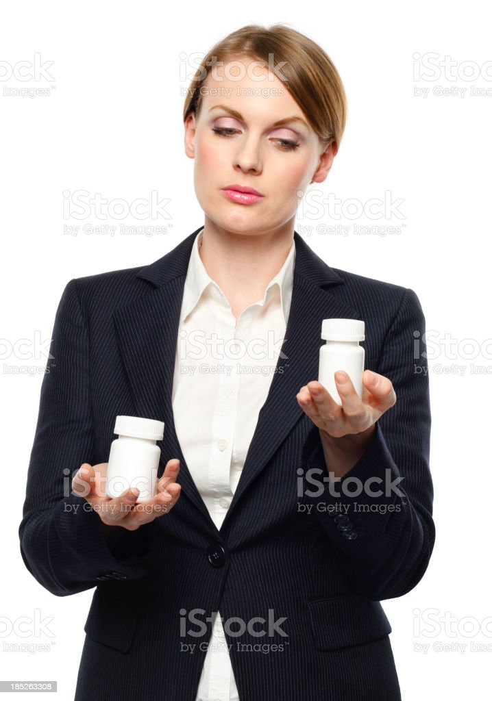 Woman choosing medicine royalty-free stock photo