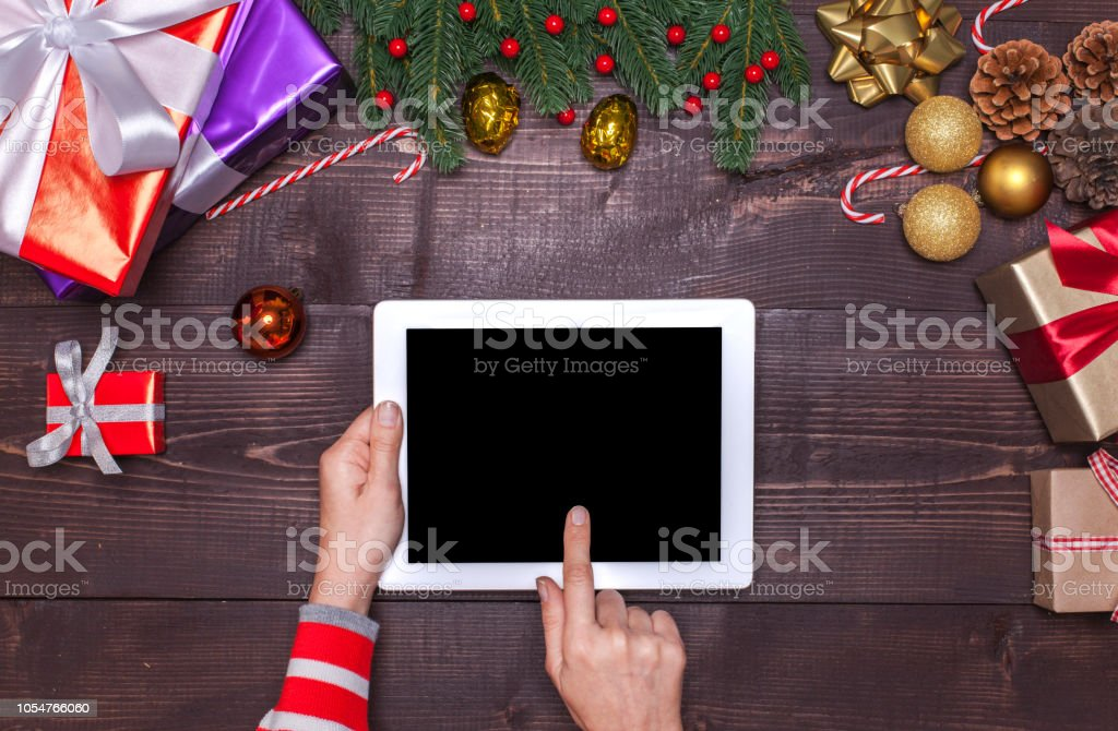 Frau Weihnachten Online-shopping – Foto