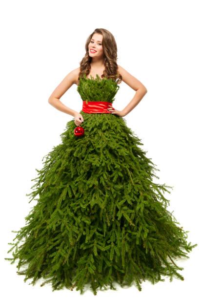 frau weihnachtsbaum kleid, mode model xmas kleid, weiß, isoliert - damen rock kostüme stock-fotos und bilder