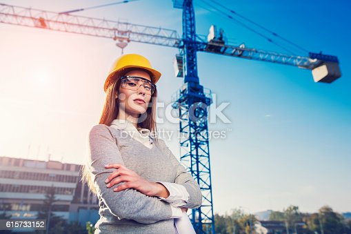 istock Woman civil engineer or architect 615733152