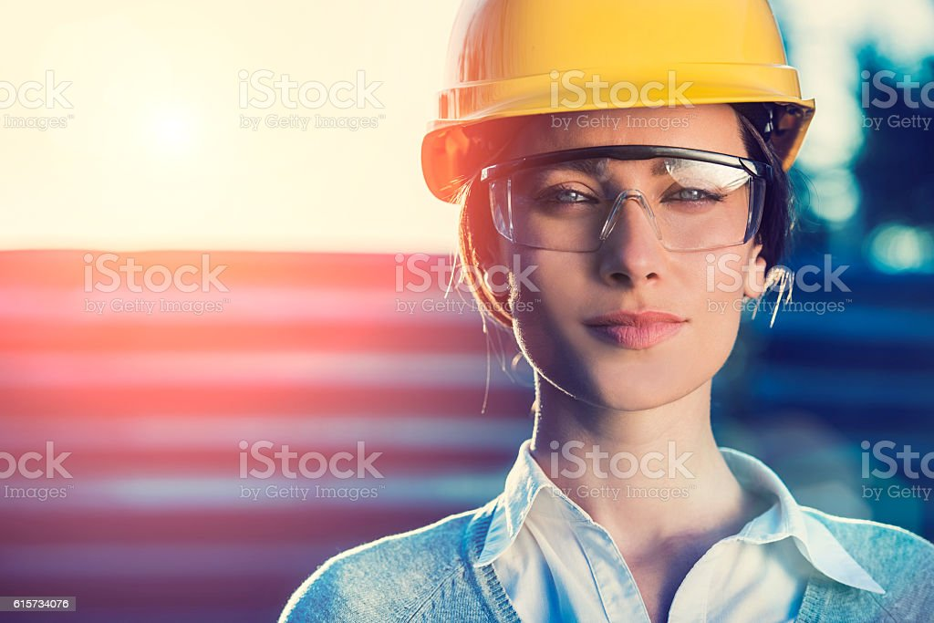 Woman civil engineer or architect stock photo