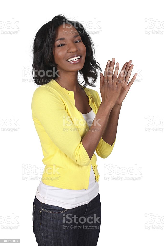 Woman clapping royalty-free stock photo