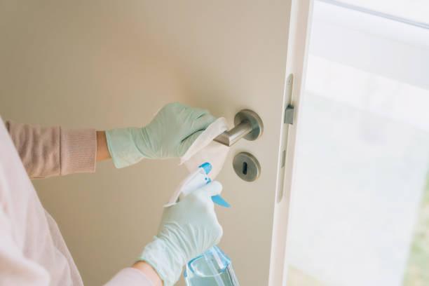 Frau reinigt einen Türgriff mit einem Desinfektionsspray – Foto