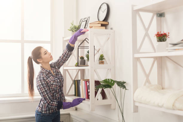 Woman cleaning dust from bookshelf stock photo