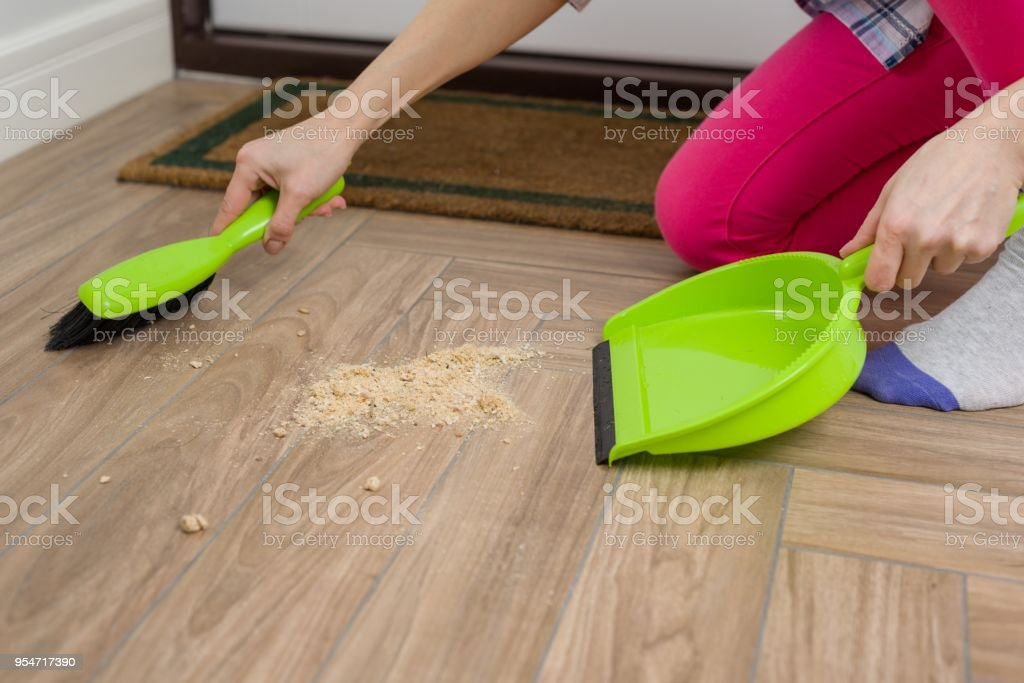 Woman Cleaning Floor With Broom And Dust Pan Stock Photo