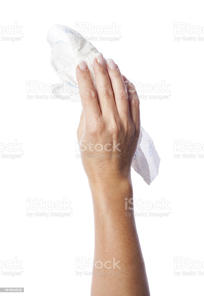 woman cleaning hand on white stock photo