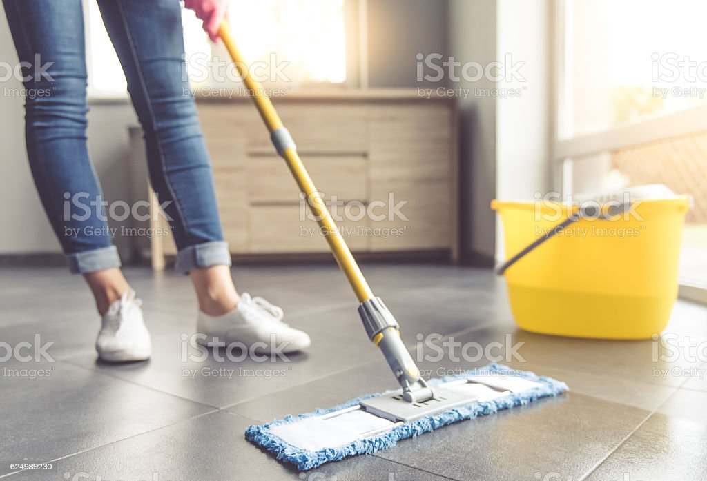 Woman cleaning her house – Foto