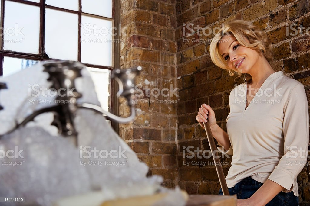 Woman Cleaning Her New Apartment royalty-free stock photo