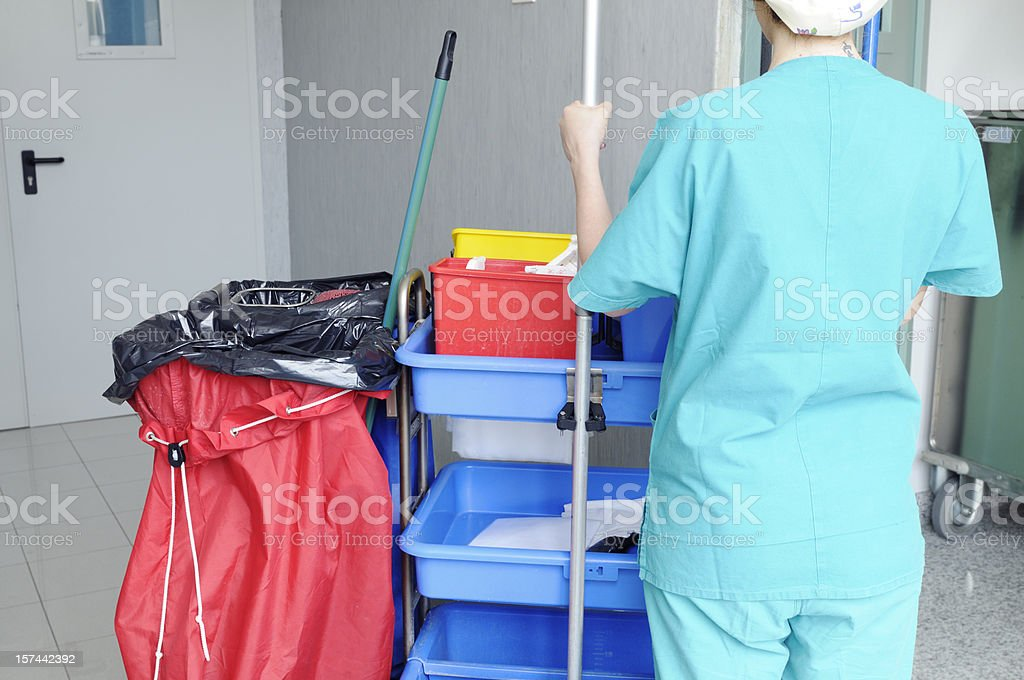 Woman Cleaning Hospital stock photo