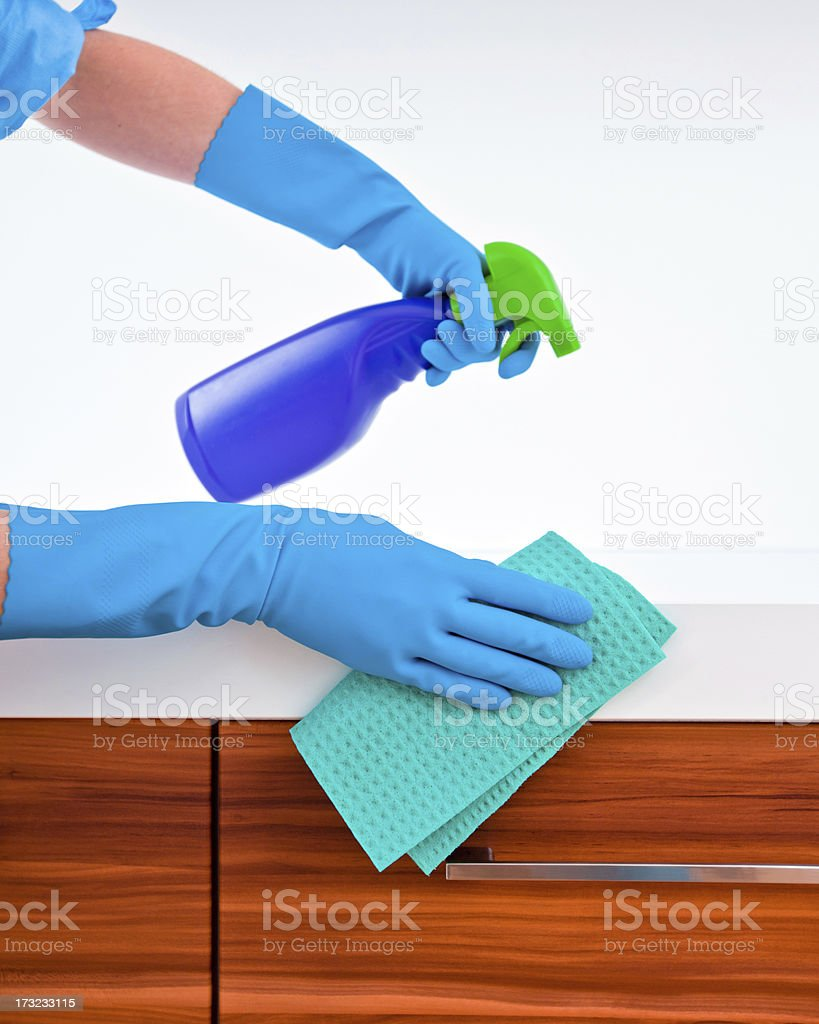 Woman Cleaning Kitchen Counter Top Stock Photo U0026 More Pictures Of Adult |  IStock