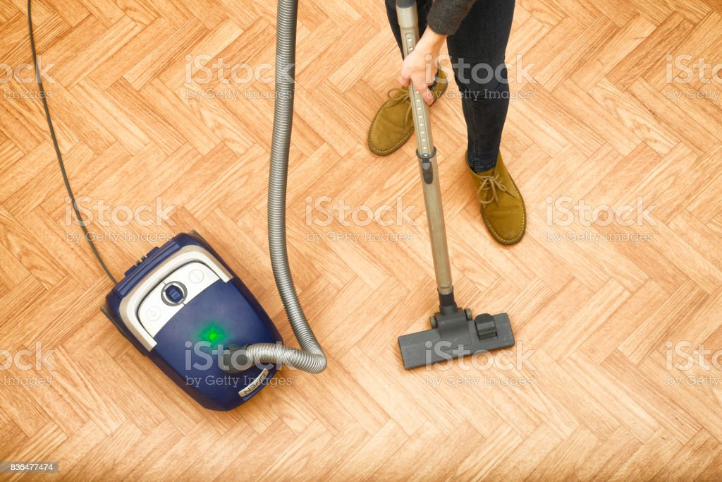 Woman Cleaning Parquet Floor Stock Photo More Pictures Of Above