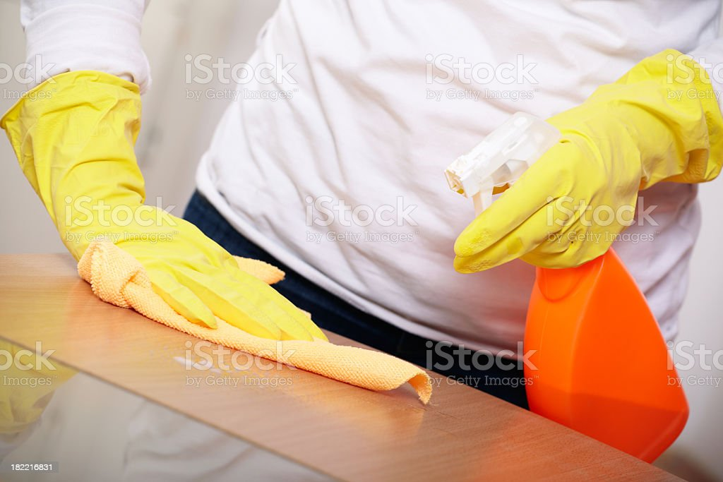 Woman Cleaning Table royalty-free stock photo