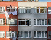 Woman cleaning the windows