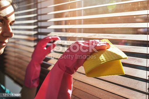 woman cleaning wooden window blinds from dust at home on sunny day