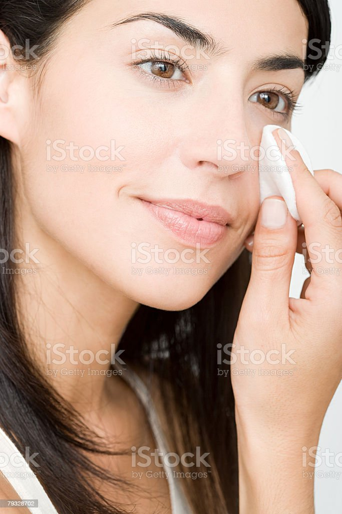 Woman cleansing stock photo