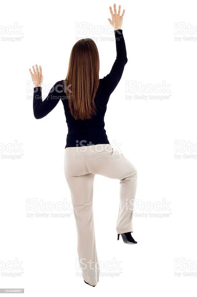 Woman Climbing royalty-free stock photo