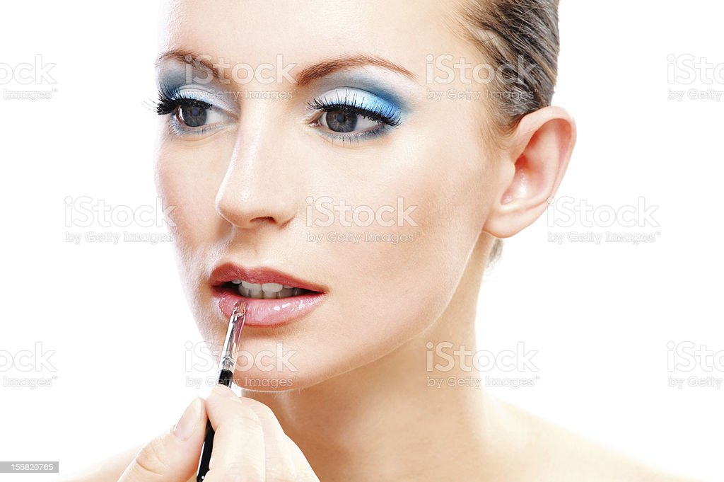 Woman close up with which paint lips royalty-free stock photo