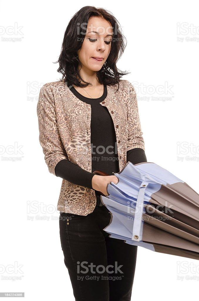 Woman closing her umbrella stock photo