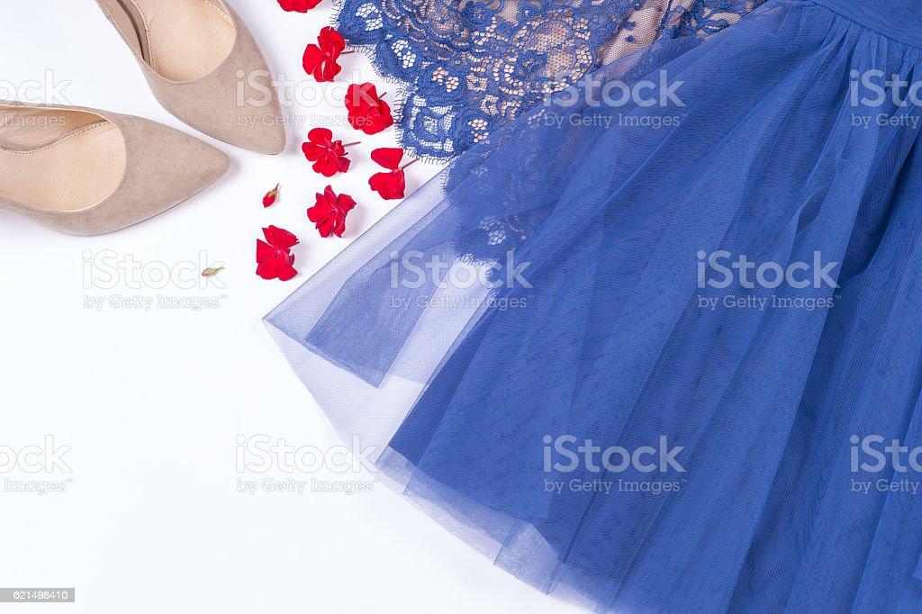 Femme vêtements et des accessoires. Bleu tendre coloris vêtements féminins. photo libre de droits