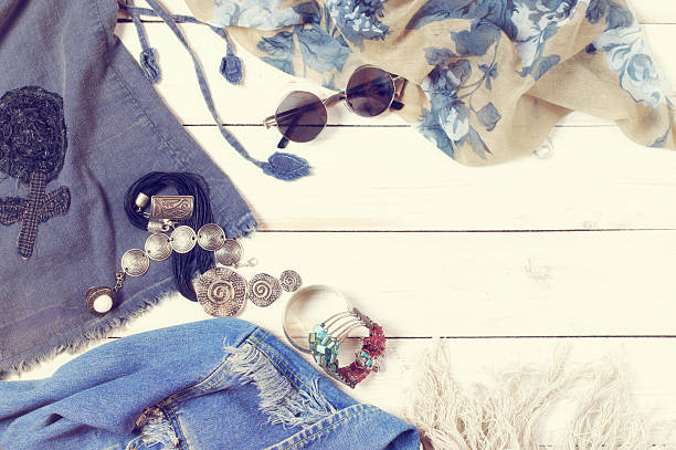 Woman clothes in boho style stock photo