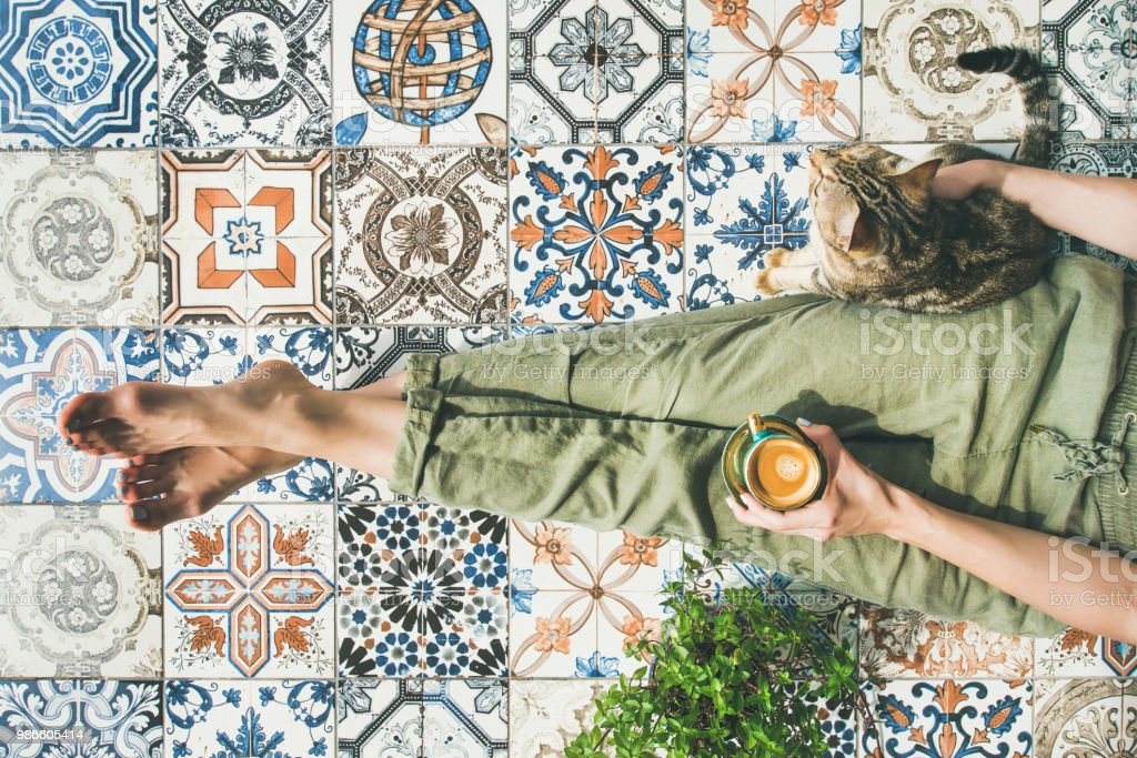 Frau, Kaffee und Katze - Lizenzfrei Balkon Stock-Foto