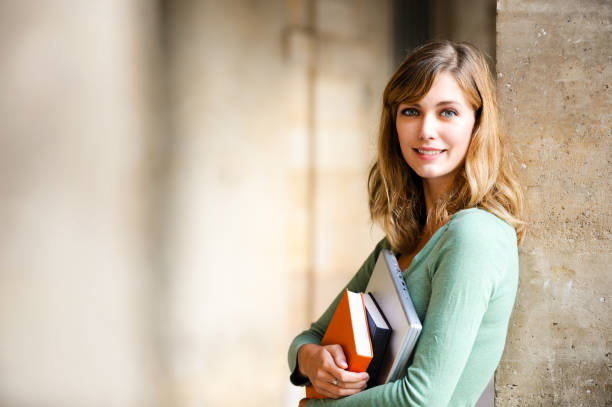 Woman College University Student on Campus - foto de acervo