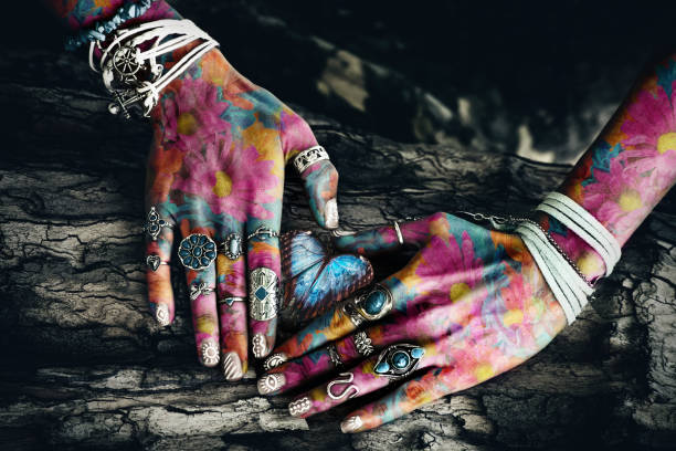 woman colorful hands stock photo