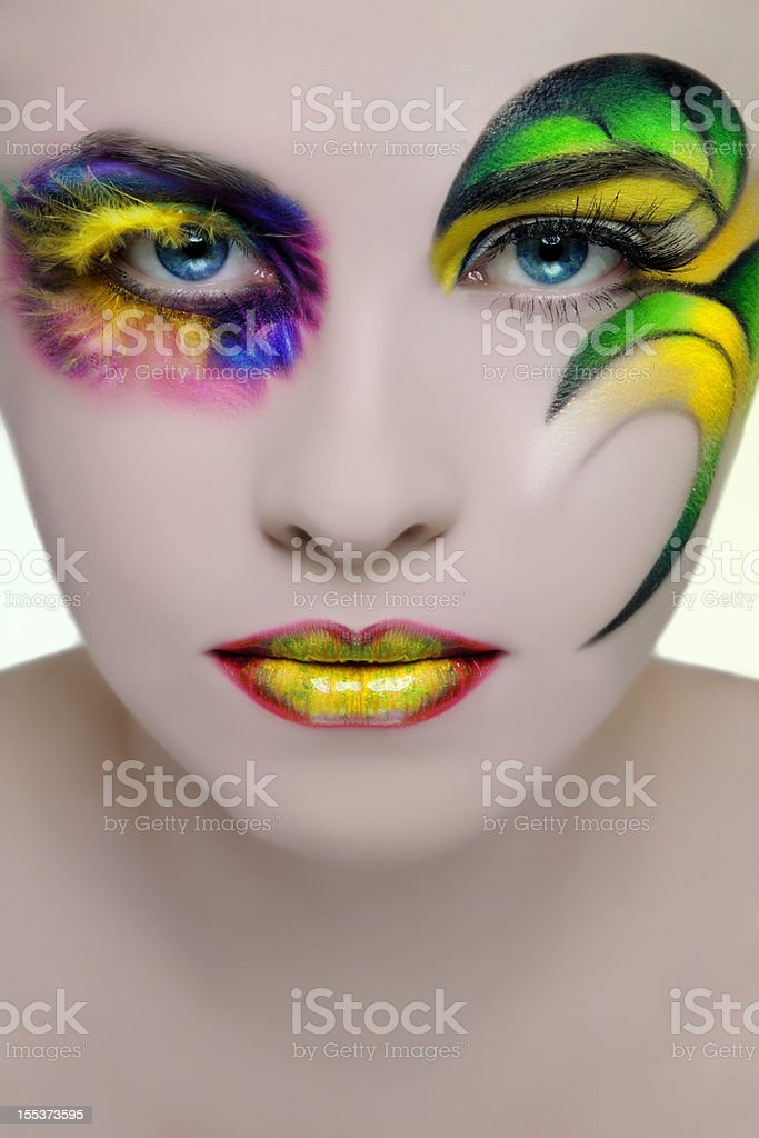 woman colorful make-up royalty-free stock photo