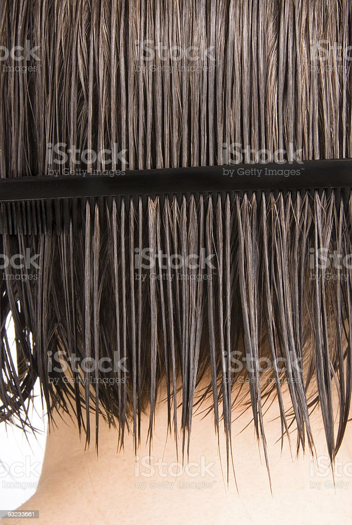 Woman combing hair royalty-free stock photo