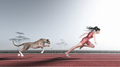 Woman competes with a cheetah on a red running track. This is a 3d render illustration
