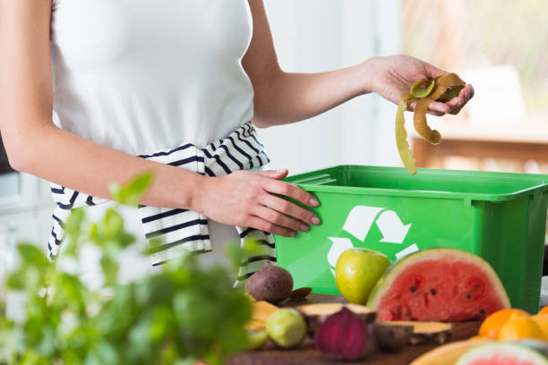 woman composting organic kitchen waste - recycling bin stock photos and pictures