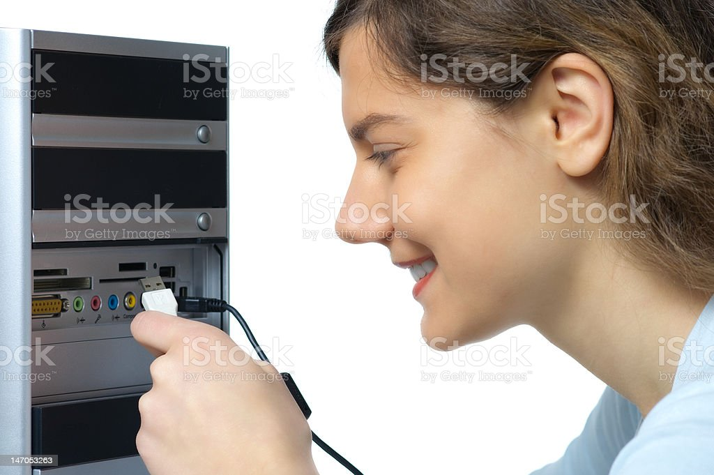 woman computer cable stock photo