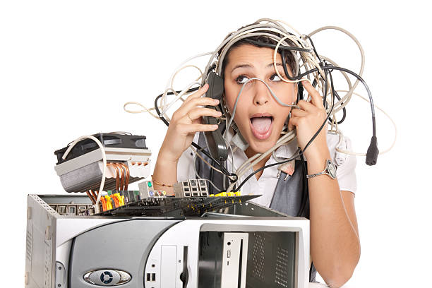 woman computer panic stock photo