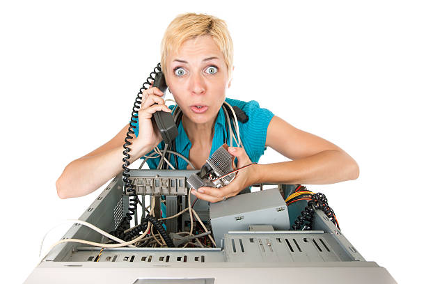 woman computer problems stock photo
