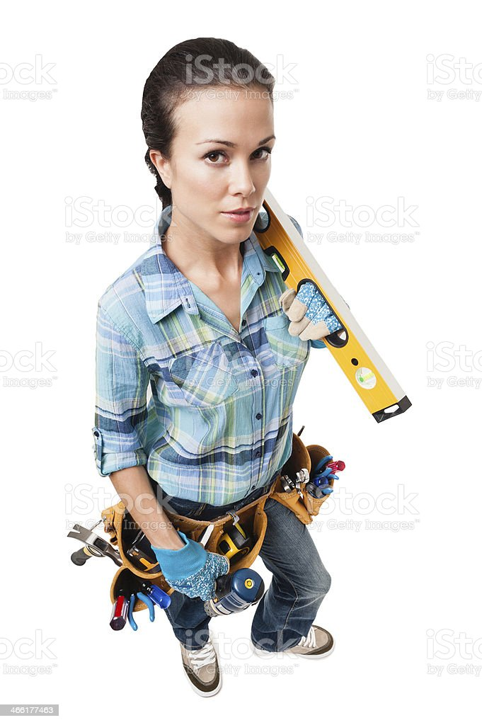 Woman Construction Contractor Carpenter Isolated on White Background royalty-free stock photo