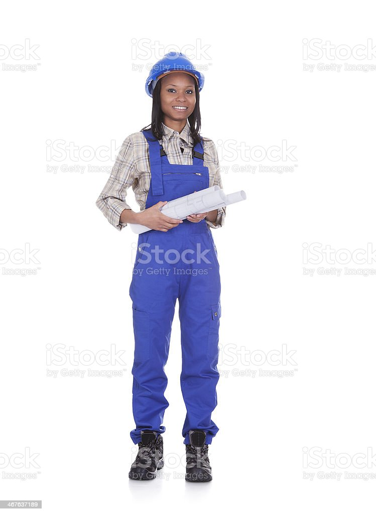 Woman construction worker on white background stock photo