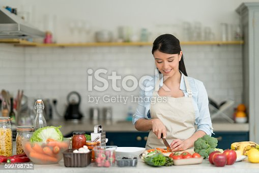 istock Woman cooking at home 599768732