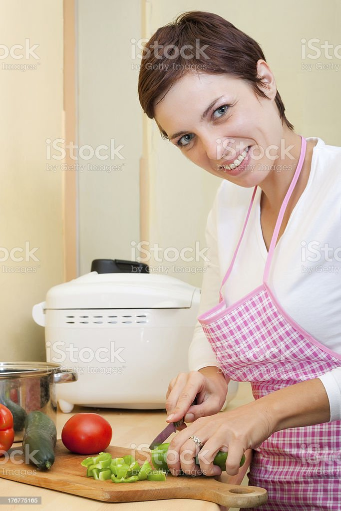 woman cooking vegetables royalty-free stock photo