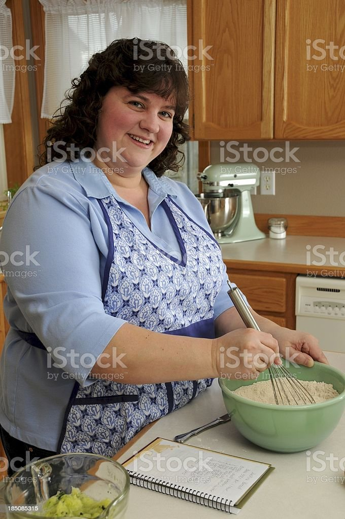 Woman Cooking Zucchini Bread royalty-free stock photo