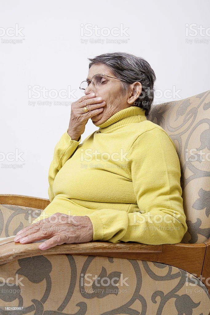 Woman coughing royalty-free stock photo