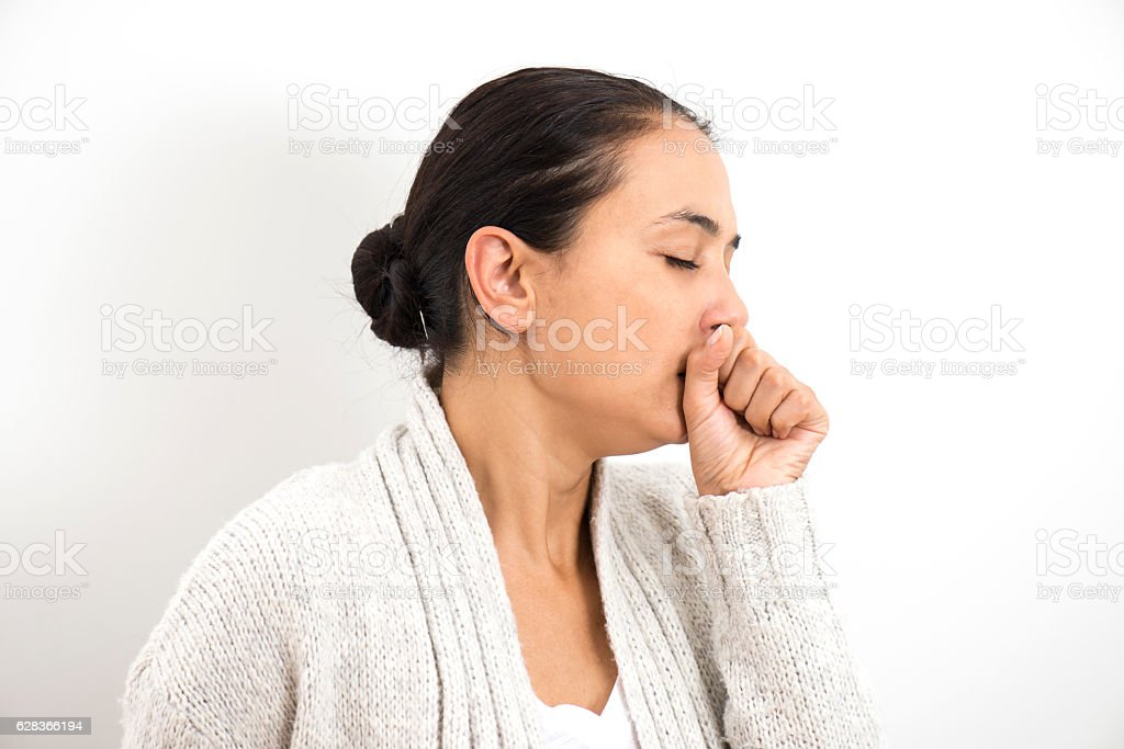 Woman Coughing stock photo