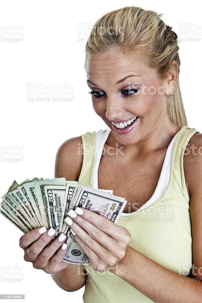 Woman counting cash royalty-free stock photo